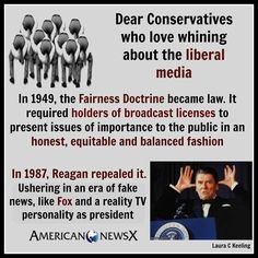 The Reagan era created Fox News.  We've been lied to for 30+ years by ONE network.