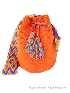 Authentic Crochet Wayuu Mochilas ~ Crossbody 12 in.H x 9 in.W ~ 20 in. Love Crochet, Knit Crochet, Tablet Weaving, O Bag, Boho Accessories, Crochet Handbags, Tapestry Crochet, Knitted Bags, Filet Crochet