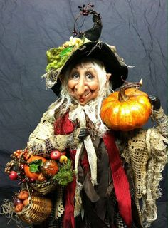 The Pumpkin Gatherer Witch ~ by Dustin Poche Halloween Doll, Vintage Halloween, Fall Halloween, Halloween Crafts, Halloween Decorations, Halloween Witches, Season Of The Witch, Witch Art, Gnome