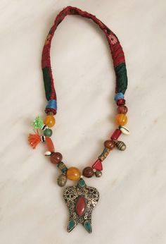 Ethnic necklace with Iranian centerpiece beads and by EthnicTree