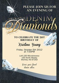 Custom Denim and Diamonds Invitations for a variety of events - from a bachelorette party to a birthday party!