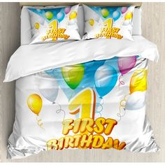 Ambesonne 1st Birthday Decorations First Party Theme Balloons with Abstract Image Duvet Set Size: King