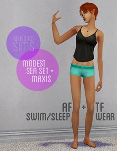 "I originally made these for personal use but thought someone somewhere might want them. Clear pic today, no photoshop. :) "" Day 9: Renegade Sims Modest Sea Set with Maxis Textures - Three Maxis..."