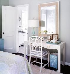 Martensen Jones Interiors - girl's rooms - Bungalow 5 Jacqui Console Desk - White, Bungalow 5 Chloe Chair, gray, walls, flokati, rug, turquo...