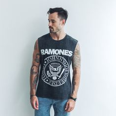 Vintage Ramones muscle is a timeless piece, tee also available. Durable black stonewashed cotton never fails. Raw edges on the sleeves and a perfect fit make this muscle a no brainer.   100% cotton Black stone wash Cut sleeve edges Rib neck   Cool wash, hang dry Model wears size XL Xl Models, Ramones, Fails, Perfect Fit, Tank Man, How To Make, How To Wear, Label, Muscle