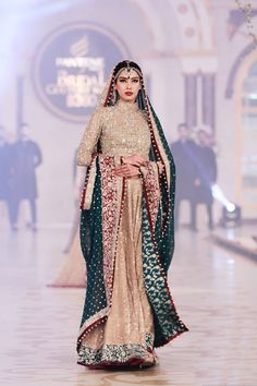 red, green, gold south asian desi bridal bride fashion couture. I actually like the high neck