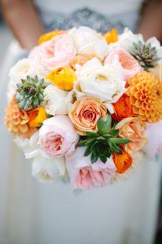 #Bouquet | #Orange #Pink | See the wedding on SMP -- http://www.StyleMePretty.com/washington-weddings/seattle/2014/01/08/traditional-university-of-washington-wedding/  Ali Mae Photography