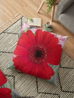 I received a bunch of gerberas and pink carnations from my husband. Never miss an opportunity to be creative, when given a bunch of flowers.This red gerbera is a strong image for those who like it bold. Throw Pillows Bed, Floor Pillows, Decorative Throw Pillows, Pink Carnations, Gerbera, Cushion Covers, Duvet Covers, Floral Cushions, Bunch Of Flowers
