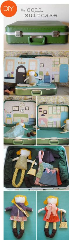 The doll suitcase. Must do this fo.-The doll suitcase…. Must do this for the lil girls i kn… The doll suitcase…. Must do this for the lil girls i know! Toddler Crafts, Craft Projects, Sewing Projects, Crafts For Kids, Fall Crafts, Sewing Ideas, Craft Ideas, Diy Doll Suitcase, Diy Toys