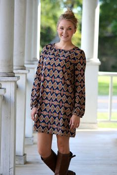 Moroccan Madness Shift Dress - Navy