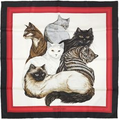 HERMES SCARF Grail Rare Silk Les Chats by Daphne by EXANYC
