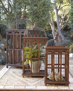 gorgeous!  Birdcage Table Decor, Set of Three at Horchow.