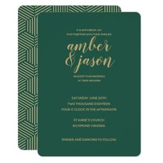 Green and Gold Modern Wedding Invitation - typography gifts unique custom diy