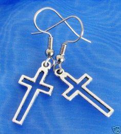 CLEARANCE! Open Cut CROSS Silver Plated Charm Earrings Christian  #BusyBeeBumbleBeads #charmdangleearrings #earrings
