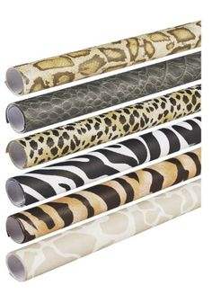 Acid-free and fade-resistant paper is designed for crafts and displays. Textured surface looks and feels like real animal skin. Six assorted patterns: cheetah, alligator, snake, zebra, giraffe and tiger.