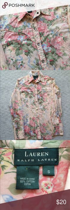 Ralph Lauren Pink Floral Cowgirl Shirt EUC. Beautiful floral pattern with pearl colored popper buttons and arrow accented pockets. 100% cotton. Approximate measurements laying flat: armpit to armpit-19 length-28 Lauren Ralph Lauren Tops Button Down Shirts