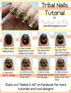 Nailed It NZ: Nail art for short nails #7 - Tribal nails. Cute... I don't have enough patience to do this for all of my nails but it could be a cute accent nail
