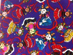 Mexican Folk Art Doll on Purple  Cotton Fabric  by Universalideas, $7.00