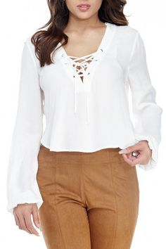 White Tie Front Crop Blouse