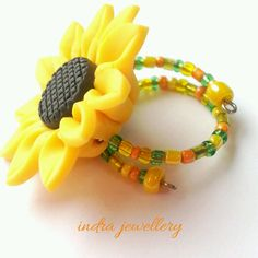 sunflower ring flower jewelry polymer clay by indrajewellery