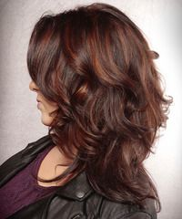 Long Wavy Casual Hairstyle - Dark Burgundy Red Hair Color with Red Highlights . Long Wavy Casual H Haircuts For Long Hair With Layers, Bob Hairstyles For Fine Hair, Short Hair Updo, Long Wavy Hair, Beautiful Hairstyles, Wedding Hairstyles, Short Hair Styles Easy, Medium Hair Styles, Curly Hair Styles