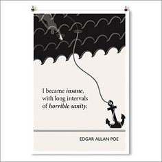 "Art Print, ""Inverted"" Edgar Allan Poe Literary Poster. Sanity and insanity reversed. Poe said this of himself while he nursed his dying invalid wife. The illustration depicts a drowning man seeking rescue, grasping at an anchor falling into the inverted sky."