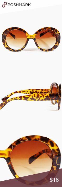 "🆕Tortoise shell round sunglasses w/glasses bag Plastic frame and lens Imported Color: Tortoise, Black Barrel hinges Measurements (approximate):  Frame width: 5.75"" Temple length: 65.75 Lens height: 2.25"" Lens width: 2"" Bridge: 0.5"" Accessories Sunglasses"
