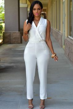 Luxe White Jumpsuit modeshe.com