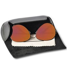 EyeSun Classic Aviator Sunglasses Flash Mirror Lens Polarized Outdoor Eyeglasses Uv400 With Leather Eyegalsses Case(blackorange-lens)