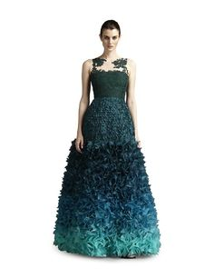 3218b63a Fabiola Arias Women's Lace Allover Petal Gown: Fabiola Arias features  forest green and turquoise in