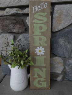 Hello Spring sign. 10x40 Hand painted wood by MyThoughtsExactly6