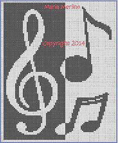Musical Notes and Clef Afghan Chart with Variations pattern by Maria Merlino