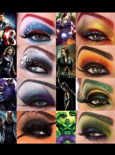 The Avengers eye makeup, Iron Man, Loki, Thor, Black Widow, Captain Furry, The Hulk, Captain America and Hawkeye