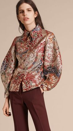 Russet brown Metallic Floral Jacquard Sculptured Sleeve Shirt - Image 1