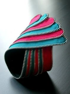 The Stripes Zipper Braclet Cuff by ReborneJewelry on Etsy, $118.00