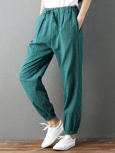 Women S Fashion Boutique Cheap Linen Pants Women, Linen Trousers, Pants For Women, Women's Fashion Dresses, Fashion Pants, Green Outfits For Women, Salwar Pants, Type Of Pants, Knit Pants