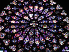 Rose stained glass window of Notre Dame Cathedral in Paris. Notre Dame Cathedral was built in the century and is one of the main attractions of Paris. Glass Wall Art, Stained Glass Art, Stained Glass Windows, Mandala Rose, Mandala Art, Saint Chapelle, Wine Bottle Wall, Wine Glass, International Dot Day