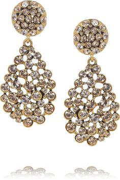 Oscar De La Renta Gold Plated Crystal Clip Earrings.
