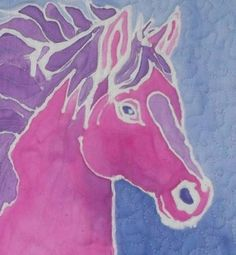 Horse relief painting on fabric, but would work with white crayon/glue and watercolor
