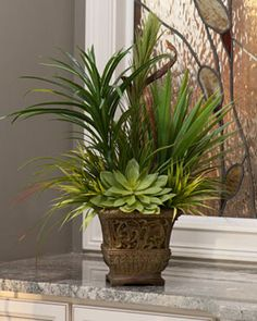Deluxe yucca plants, podocarpus, mixed grasses, and succulents combine in an square wood tone resin planter. Artificial Floral Arrangements, Church Flower Arrangements, Church Flowers, Succulent Arrangements, Silk Arrangements, Silk Plants, Faux Plants, Artificial Plants And Trees, Artificial Flowers