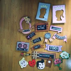 vintage photoprops for wedding photobooth retro design pink sweet
