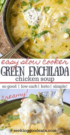 The best keto soup! Creamy green enchiladas chicken soup is so tasty and easy to make in the crockpot. Keto slow cooker Mexican soup is the perfect weeknight dinner recipe. Easily adapted Instant Pot recipe so you've got even more options. A perfect Poulet Keto, Mexican Soup Recipes, Mexican Chicken Soups, Creamy Chicken Soups, Fish Recipes, Recipes For One, Best Recipes For Dinner, Slow Cooker Mexican Chicken, Half And Half Recipes