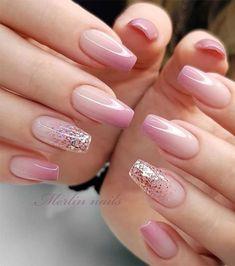 Best Acrylic Nails, Acrylic Nail Designs, Nail Art Designs, Nails Design, Acrylic Nails Almond Glitter, Baby Pink Nails Acrylic, Square Nail Designs, Ombre Nail Designs, Glitter Hair