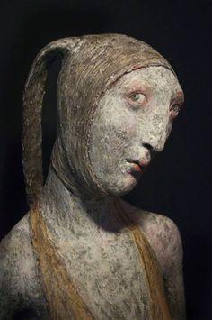Sculpture by Patricia Broothaers, contemporary Belgian ceramic artist Vogel Silhouette, Ceramic Sculpture Figurative, Sculpture Head, Abstract Faces, Wow Art, Clay Art, Ceramic Art, Art Dolls, Sculpting