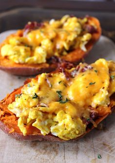 Breakfast Stuffed Sweet Potatoes are an easy, filling, healthy breakfast recipe that's perfect to serve at brunch or include in your meal prep.