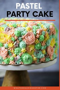 Make this easy recipe for a pretty pastel party cake perfect for a kid's birthday. Decorate it with tinted buttercream in swirls. You'll love this riff on a unicorn cake. Elegant Desserts, Fancy Desserts, Homemade Desserts, Elegant Cakes, Delicious Desserts, Best Cake Recipes, Dessert Recipes, Baking Recipes, Fluffy Buttercream Frosting