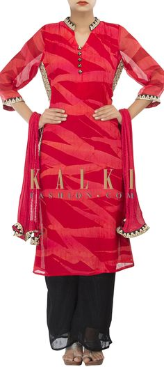 Buy Online from the link below. We ship worldwide (Free Shipping over US$100) http://www.kalkifashion.com/straight-suit-in-red-and-coral-adorn-in-zari-and-sequin-side-panels-only-on-kalki.html