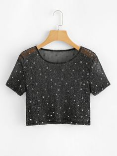 Shop Sheer Mesh Crop Tee at ROMWE, discover more fashion styles online. Girls Fashion Clothes, Teen Fashion Outfits, Outfits For Teens, Girl Fashion, Clothes For Women, Cute Comfy Outfits, Classy Outfits, Trendy Outfits, Cool Outfits