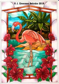Flamingo. A pattern for stained glass. Pattern is a Black and White Pdf digital file. Designed at 16 by 23 ( 40.64 cm by 58.42 cm ). File is available for download. Disney Stained Glass, Stained Glass Paint, Stained Glass Birds, Stained Glass Crafts, Stained Glass Panels, Glass Painting Designs, Paint Designs, Stained Glass Patterns Free, Glass Printing