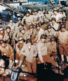 Soldiers of the United States Army, 1st Infantry Division, 'The Big Red One' prepare to depart southern England for their voyage to Omaha Beach, Normandy, June 1944.
